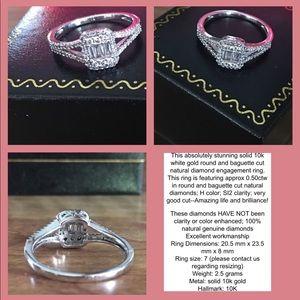10k white gold baguette diamond ring size 7